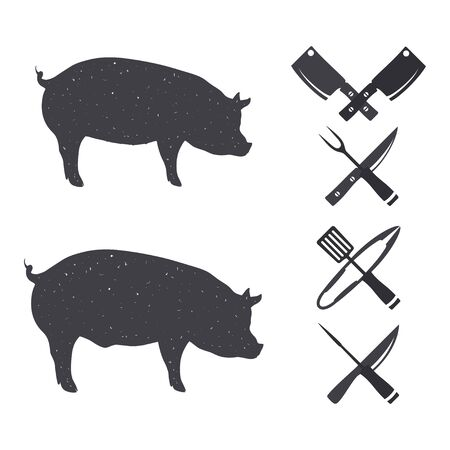 butchery: Farm animals. Butchery Design Elements. Isolated on a white. Illustration
