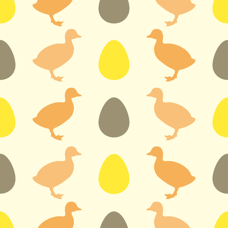 duckling: Seamless pattern for printing onto fabric. Vector illustration of egg and duckling.