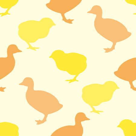 duckling: Seamless pattern or printing onto fabric. Wallpaper with chick and duckling. Vector illustration.