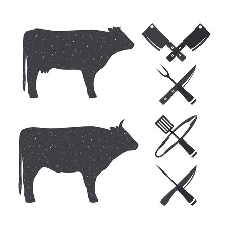 Black silhouettes of a bull and a cow. Butchery Design Elements. Isolated on a white. Vector illustration. Illusztráció