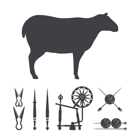 Black silhouette of a Sheep. Wool Design Elements. Isolated on a white. Vector illustration. Illustration