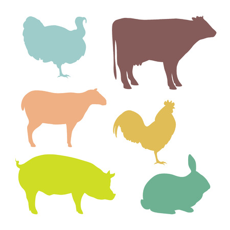 turkey bacon: Color silhouettes of farm animals. Butchery Design Elements. Isolated on a white. Vector illustration.