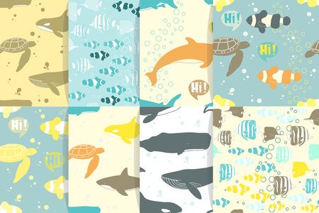 Seamless patterns with whales and fiishes. Vector illustration.