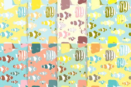 copperband butterflyfish: Seamless patterns with tropical fishes. Vector illustration. Illustration