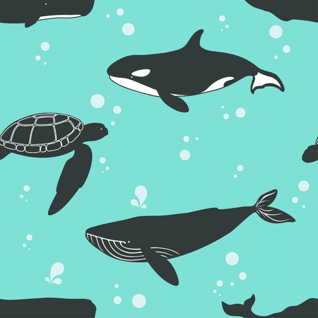 killer waves: Seamless pattern with whales and turtle. Vector illustration.