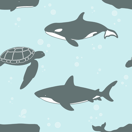Seamless pattern with whale, shark and turtle. Vector illustration. Illustration