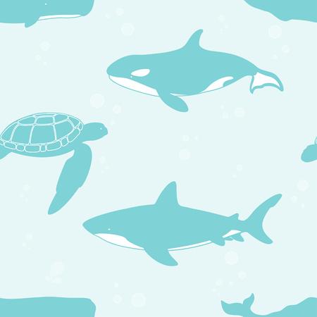 Seamless pattern with whale, shark and turtle. Vector illustration. Ilustração