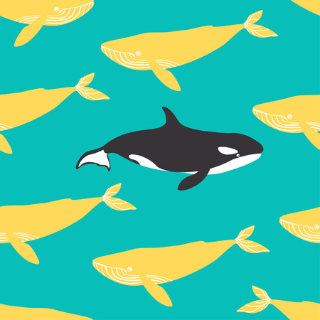 killer waves: Seamless pattern with blue whales and killer whales. Vector illustration.