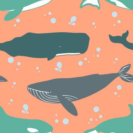 killer waves: Seamless pattern with blue, sperm and killer whales. Vector illustration.