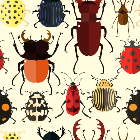 firebug: Seamless pattern with colorful insects. Bug wallpaper. Vector illustration for printing onto fabric.