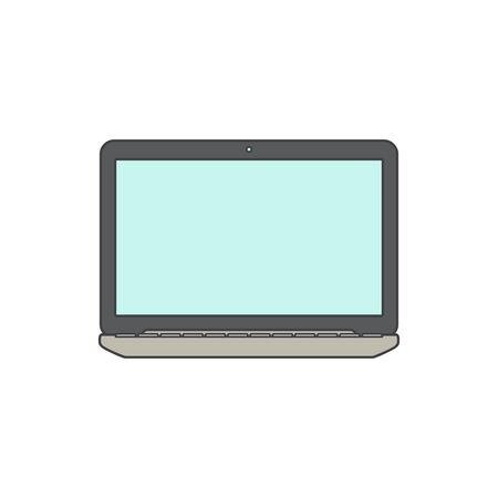 over white: Vector Illustration of a Laptop with blank Screen. Isolated on White background. Laptop line icon. Black Laptop over White.