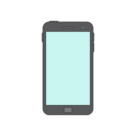 over white: Vector Illustration of a mobile Phone icon. Isolated on White background. Black smart Phone over White. Blank Screen.