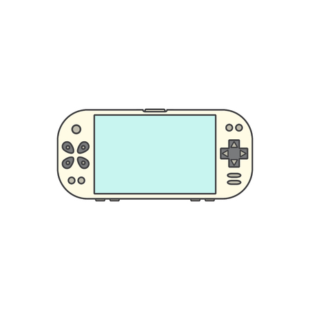 game console: Game gadget . Handheld game console icon. Vector illustration Isolated on white background. Gamepad Icon. Blank screen.