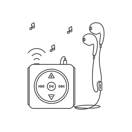 mp3 player: Music player with headphones. Music device line icon. Vector illustration on white background. Mp3 player over White.