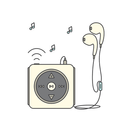 portable mp3 player: Music player with headphones. Music device line icon. Vector illustration on white background. Mp3 player over White.