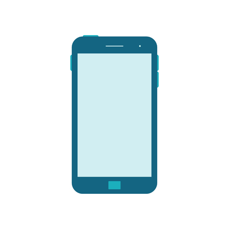 over white: Vector Illustration of a mobile Phone icon. Isolated on White background. Blue smart Phone over White. Blank Screen.