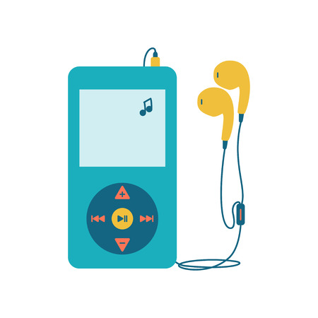 music player: Music player with headphones. Music device flat icon. Vector illustration on white background. Mp3 player over White.