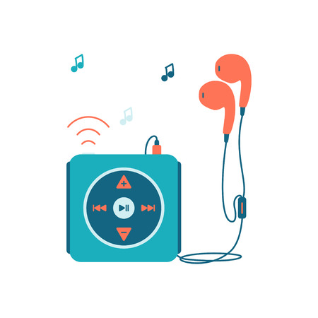 mp3 player: Music player with headphones. Music device flat icon. Vector illustration on white background. Mp3 player over White.