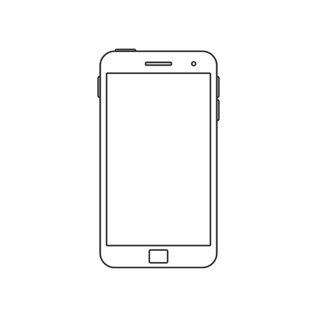 over white: Vector Illustration of a mobile Phone icon. Isolated on White background. Smart Phone over White. Blank Screen.