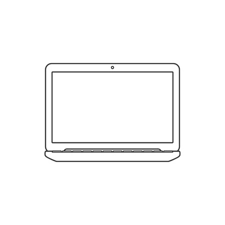 over white: Vector Illustration of a Laptop with blank Screen. Isolated on White background. Laptop flat icon. Laptop over White.