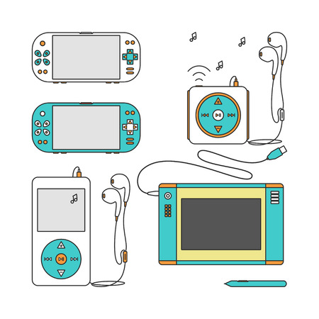 handheld device: Game gadget Icons. Handheld game console Icons. Music players with headphones. Music device line icons. Pen tablet icon. Pen tablet and sensor pen. Vector illustration on a white background.