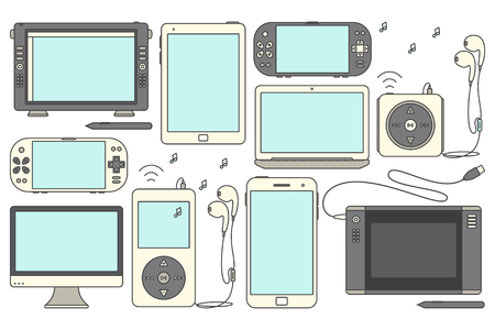 handheld device: Set of isolated gadgets. Device icons. Illustration