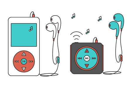 portable mp3 player: Music players with headphones. Music device line icon. Vector illustration on white background. Mp3 player over White.