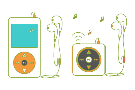 over white: Music players with headphones. Music device line icon. Vector illustration on white background. Mp3 player over White.