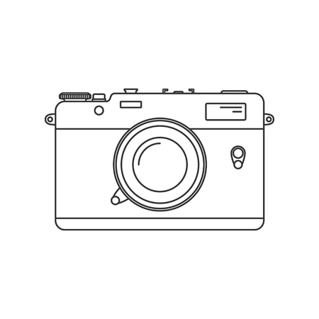 Retro camera Icon. Vintage camera in line art style. Antique Camera Illustration. Isolated on white background.