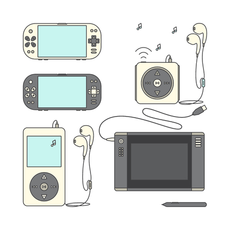pen tablet: Game gadget Icons. Handheld game console Icons. Music players with headphones. Music device line icons. Pen tablet icon. Pen tablet and sensor pen. Vector illustration on a white background.