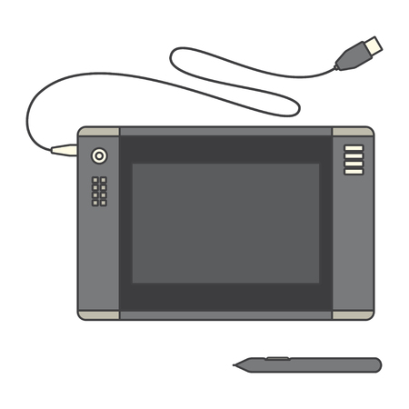 sensor: Pen tablet icon. Vector illustration with pen tablet and sensor pen. Pen Tablet over White.