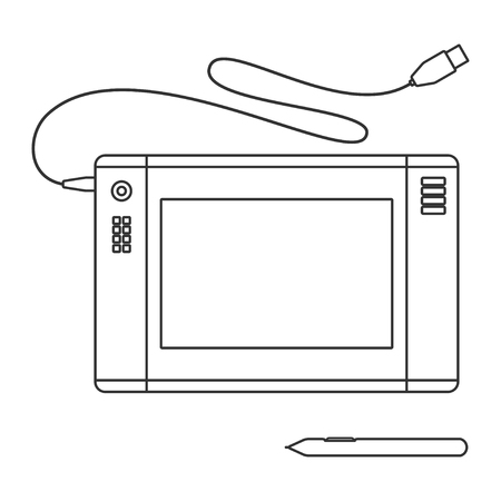 pen tablet: Pen tablet icon. Vector illustration with pen tablet and sensor pen. Pen Tablet over White.