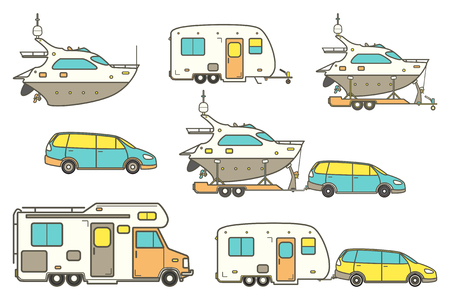 Travel line icons. Minivan, family car. Vector camping car. Caravan truck icon. Camper van line illustration. Camper trailer. Trailer boat. Pleasure boat. Yacht icon. Isolated on a White Background.