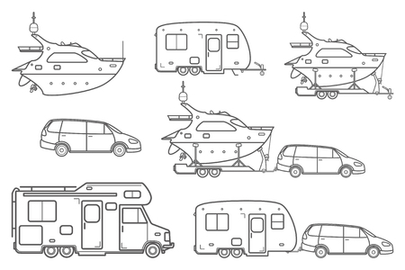 camper trailer: Travel line icons. Minivan, family car. Vector camping car. Caravan truck icon. Camper van line illustration. Camper trailer. Trailer boat. Pleasure boat. Yacht icon. Isolated on a White Background. Illustration