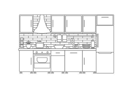Kitchen interior. Vector line illustration.