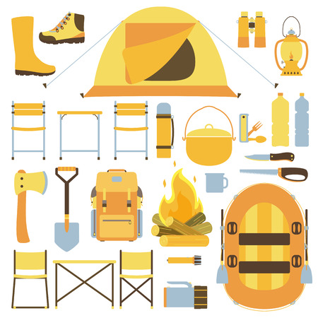 equipment: Camping equipment icons Illustration