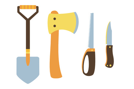 the ax: Knife, ax, shovel, hand saw icons