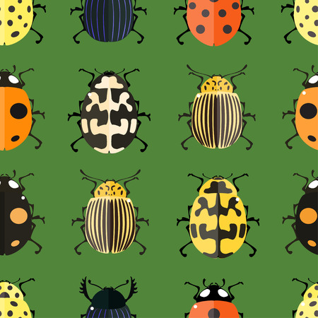 Seamless pattern with colorful Bugs. Vector illustration for printing onto fabric.