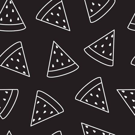 Watermelon slice seamless pattern. Vector.