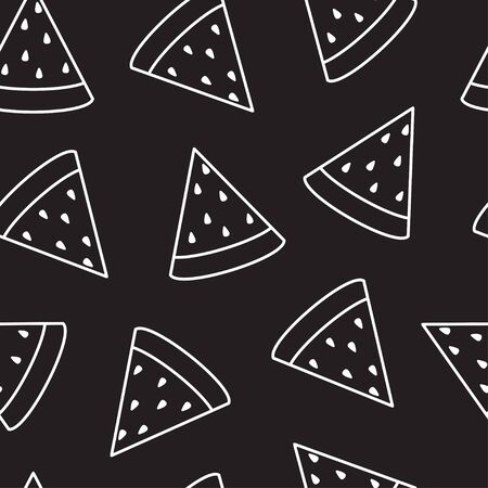 Watermelon slice seamless pattern. Vector.