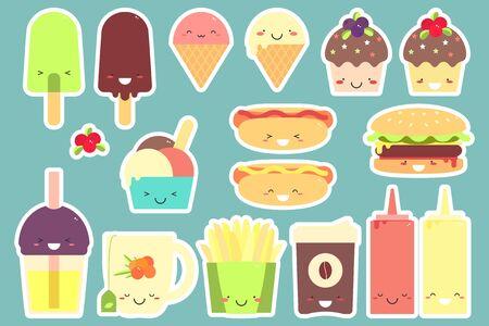 Fast food sticker set. Vector illustration. Isolated. Standard-Bild