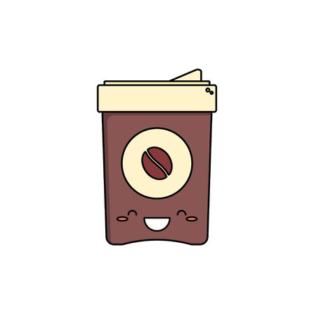 Disposable coffee cup. Isolated on a white background. Vector illustration.
