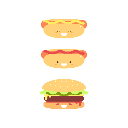 Hot Burger and Hot Dog isolated on a white background. Vector illustration.