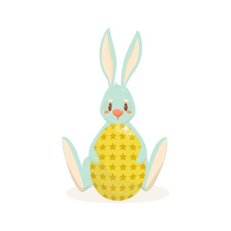 Easter bunny and easter egg. Vector illustration..