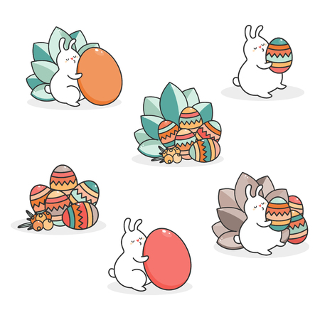 Easter bunny and egg. Vector.