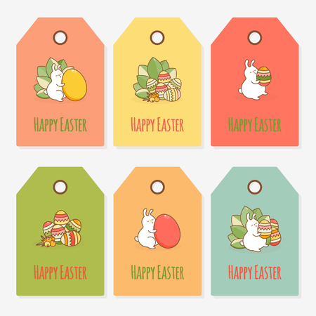 Easter Gift Tag Template. Vector illustration. Illustration