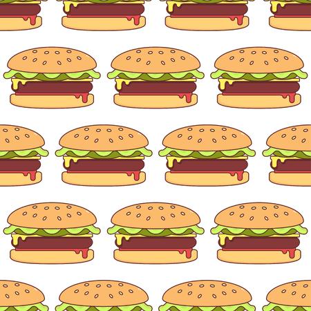 Hamburger seamless pattern. Vector. Illustration