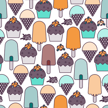Ice cream and muffins. Vector.