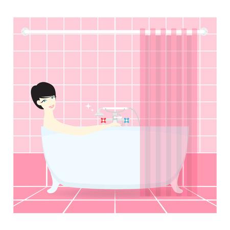 Pretty Woman taking a bath. Vector. Illustration