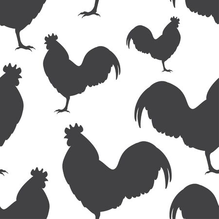 Rooster silhouettes. Vector.